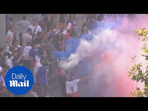 French fans go wild in streets of Paris after winning the World Cup - Daily Mail