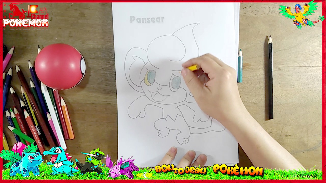 learn how to draw and color pansear pokmon kids learn coloring drawing fun coloring pages