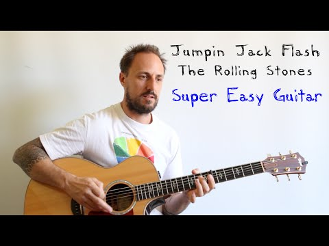EASY GUITAR LESSON   Jumpin Jack Flash   The Rolling Stones   Super Easy Guitar