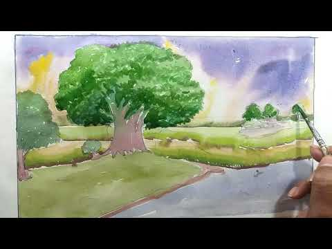 How TO Draw Scenery OF River Side Painting with Watercolor Step By Step…