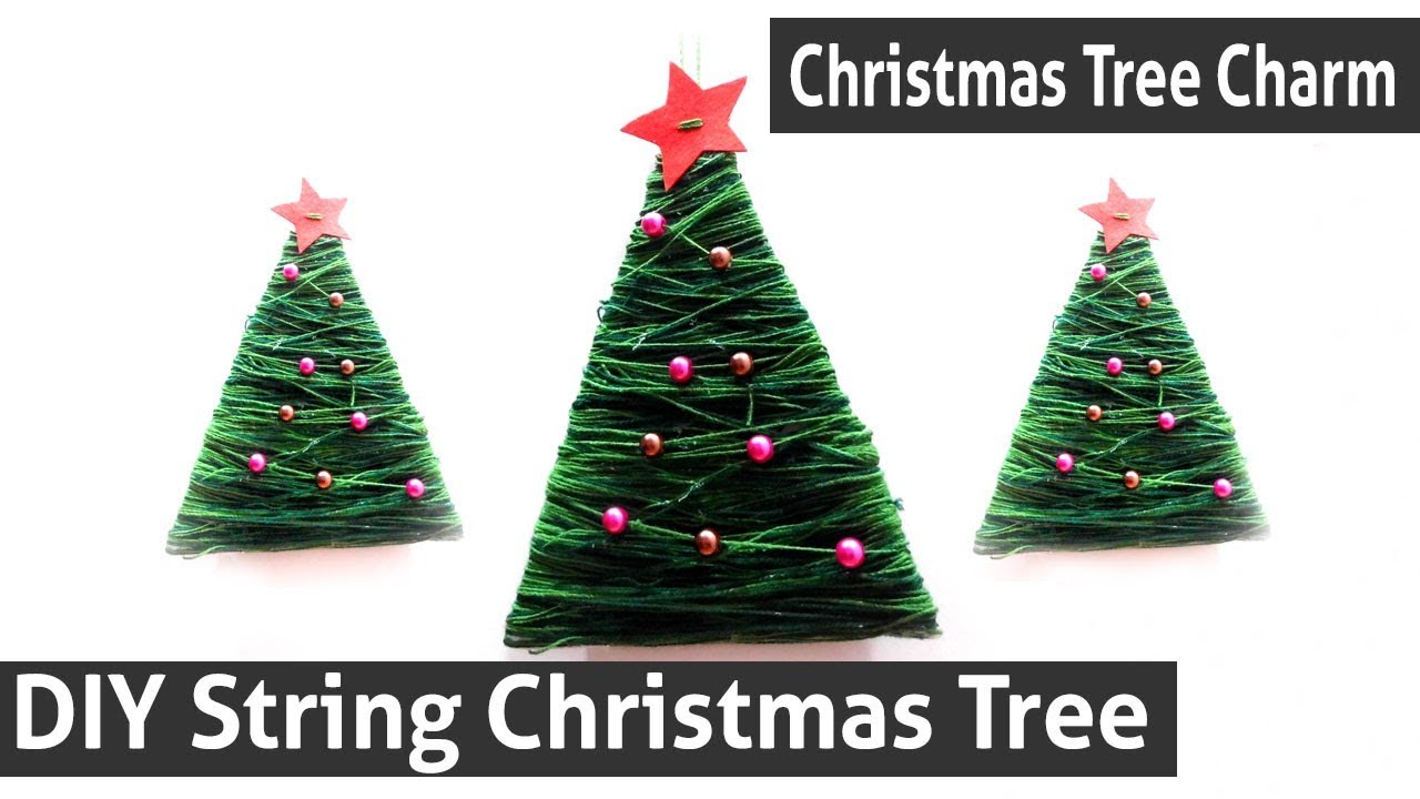diy string christmas tree how to make mini wall hanging christmas tree christmas tree charm