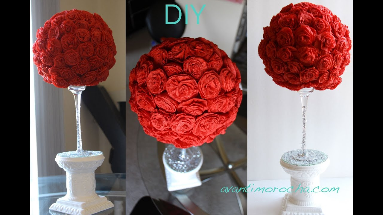 Diy paper rose topiary topario de rosas de papel youtube for Rosas de papel