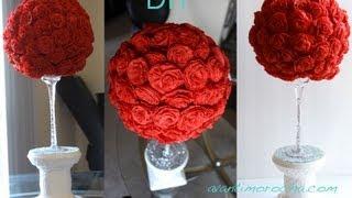 Repeat youtube video DIY Paper Rose Topiary / Topario de Rosas de Papel