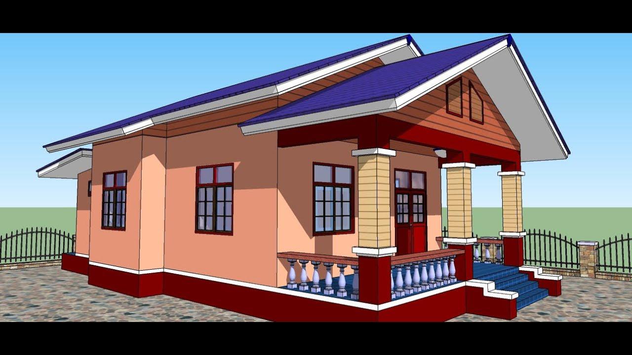 บ้านพักอาศัย หลังคาทรงจั่ว ขนาด 2 ห้องนอน 1 ห้องน้ำ