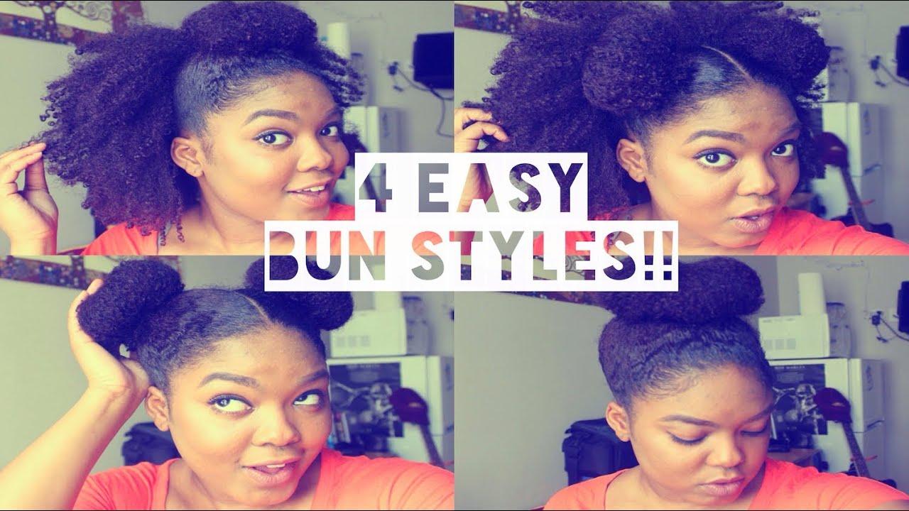 natural hair 4 easy bun styles