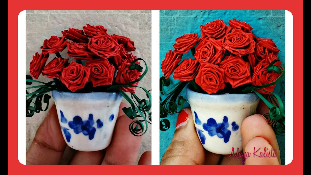 Paper quilling rose flower basket boatremyeaton how to make diy paper quilling beautiful miniature flower pot rose mightylinksfo