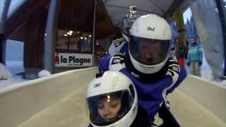 Descente en bobsleigh vue de l'intérieur - Eurosport 19/02/2017 La Plagne