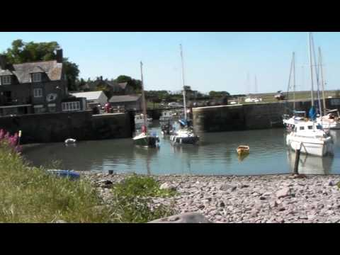 little boat at porlock weir harbour