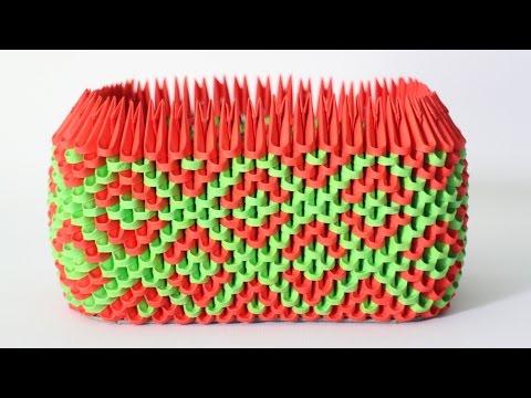 DIY: 3D Origami Rectangle Pen Holder (Dark Green & Red)