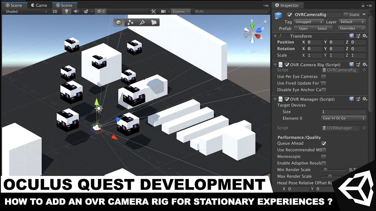 Unity Oculus Development OVR Camera Rig for Stationary VR Experiences