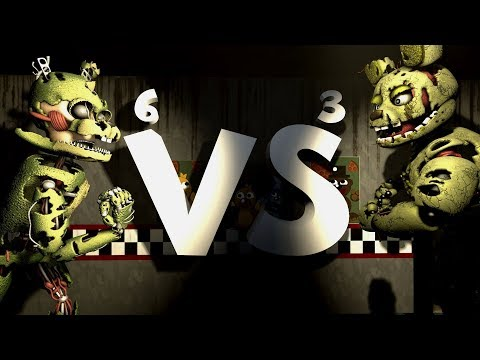 FNAFSFM Springtrap vs Springtrap FNAF6 vs FNAF3 and more!  1500 sub special
