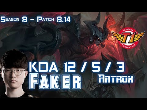SKT T1 Faker AATROX vs ORIANNA Mid - Patch 8.14 KR Ranked