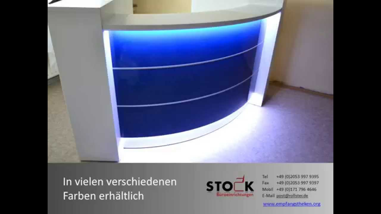 halbrunde empfangstheke blau hochglanz mit beleuchtung k ln dr werner youtube. Black Bedroom Furniture Sets. Home Design Ideas
