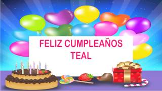 Teal   Wishes & Mensajes - Happy Birthday
