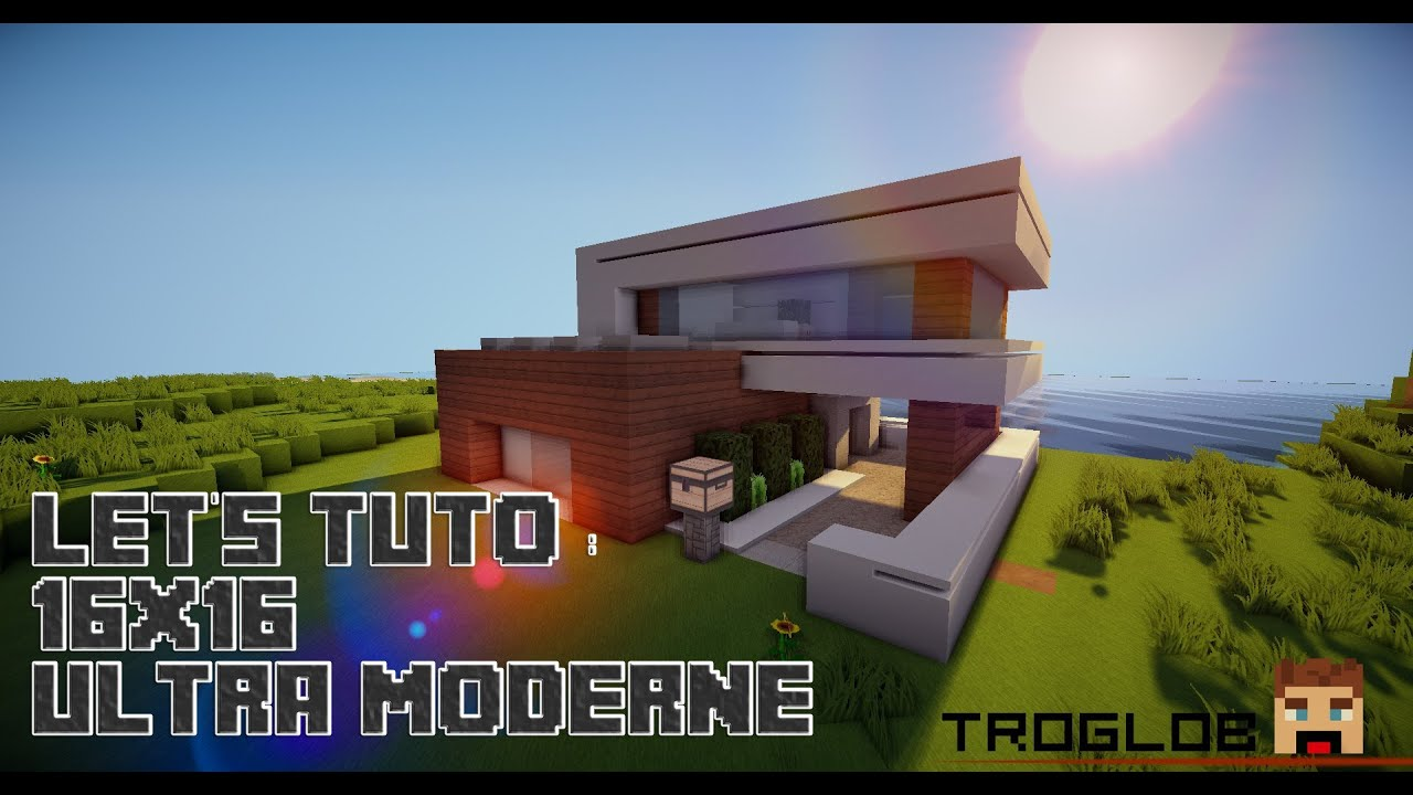 Minecraft let 39 s tuto 16x16 ultra modern house youtube for Deco maison ultra moderne