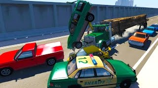 Realistic high speed crashes on the highway - beamng drive crash compilation gameplay highlights