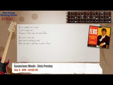 Suspicious Minds - Elvis Presley Bass Backing Track with chords and lyrics