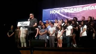 Shaun King tells Bernie Sanders arrest story Shaun King introducing Bernie Sanders Sat 6/2 in Los Angeles. Tells the story of how Bernie got arrested in Chicago during civil rights movement., From YouTubeVideos