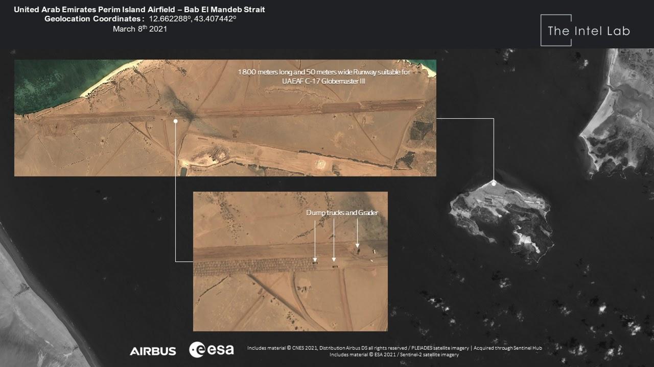 United Arab Emirates Airfield in Perim Island - Bab El Mandeb Strait