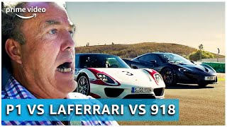 Porsche 918 vs. Ferrari LaFerrari vs. McLaren P1 | The Grand Tour | Amazon Prime Video NL