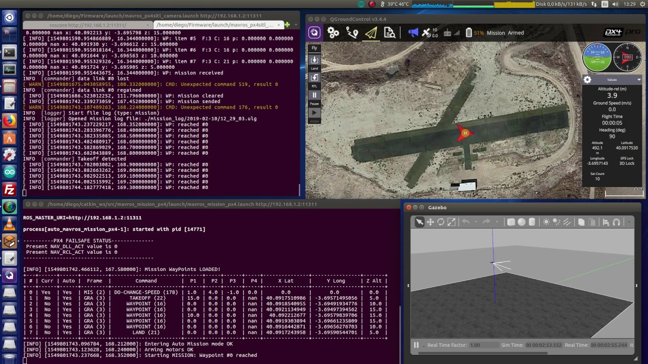 Autonomous flight mission in ROS using MavROS + PX4 SITL/Gazebo by JdeRobot