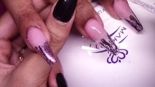 HOW TO: Pink Foil Tips Acrylic Nails