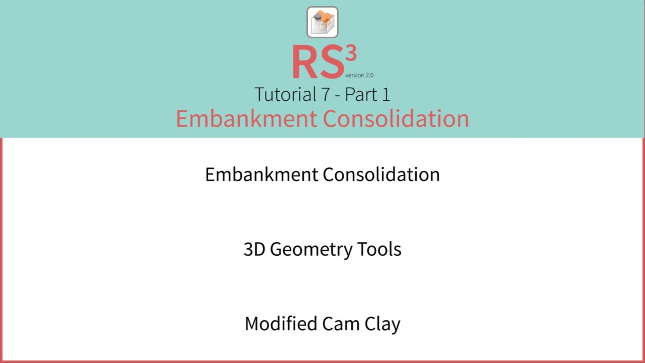 RS3 Tutorial 7 - Embankment Consolidation Part 1