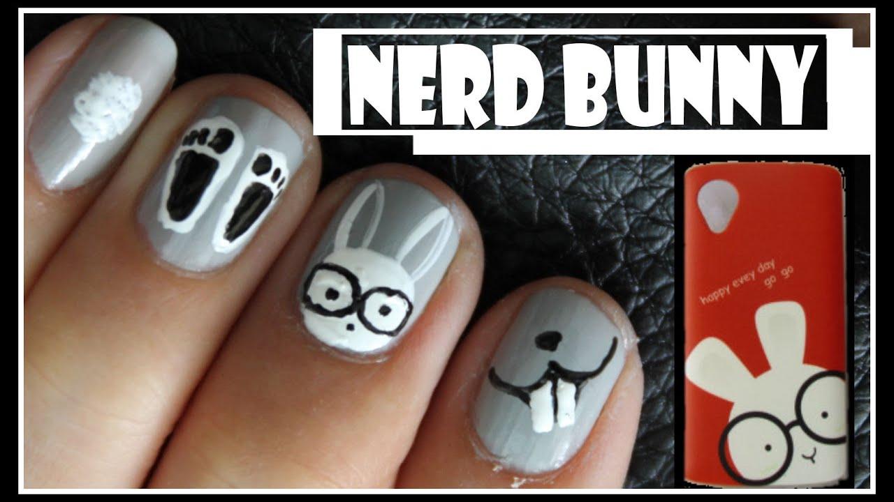 Nerd Bunny Nail Art Design Geek Rabbit Animal Tutorial For Short