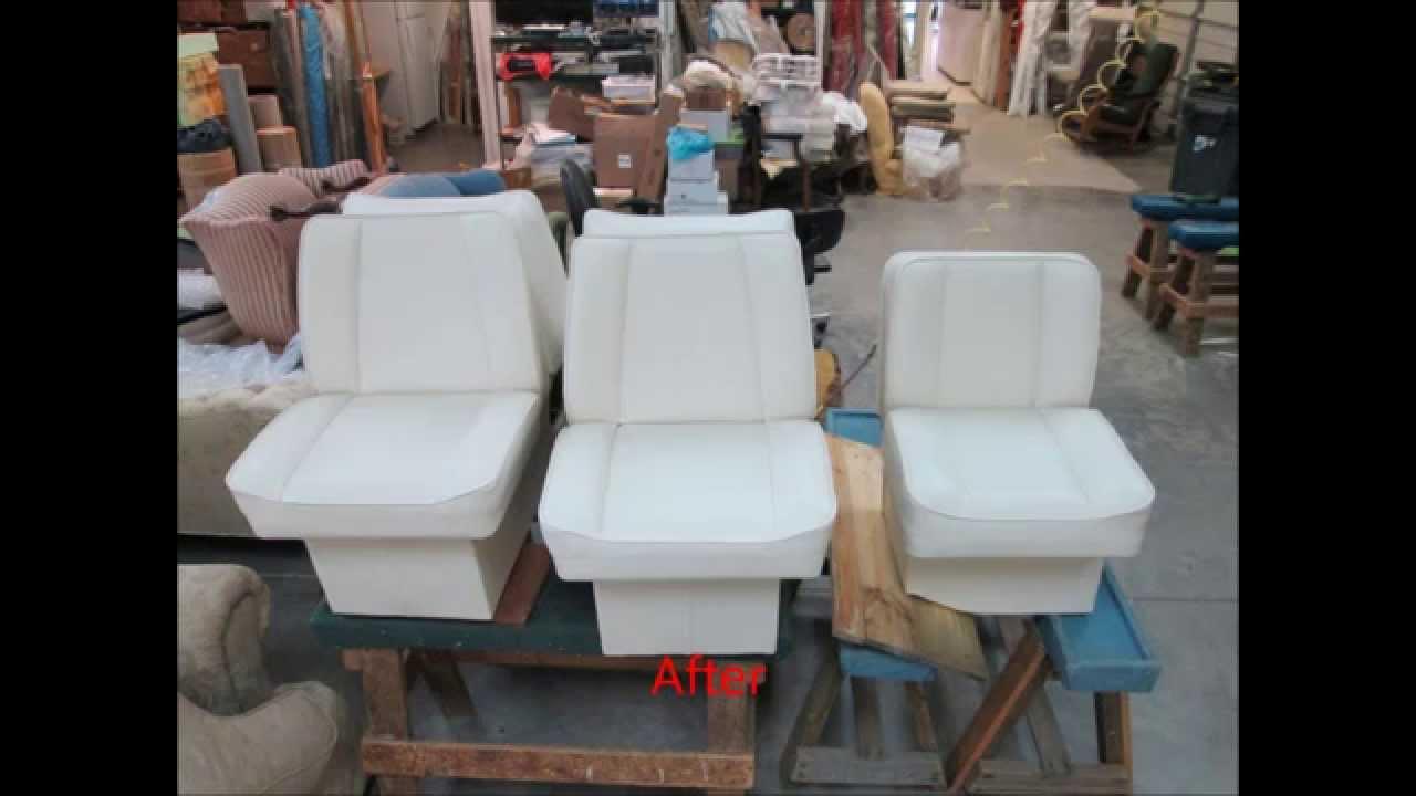 Boat Seats Upholstery by Joe's Upholstery, Va Beach, Va - YouTube