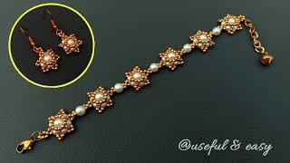 An Elegant Bridal Jewelry Sets//Beaded Jewelry Making//Bracelet & Earrings// Useful & Easy