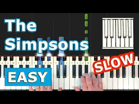 The Simpsons Theme - SLOW EASY Piano Tutorial - Sheet Music (Synthesia)