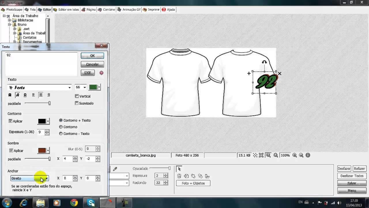 eec725d1c3452 Como criar camisetas pelo photoscape - YouTube