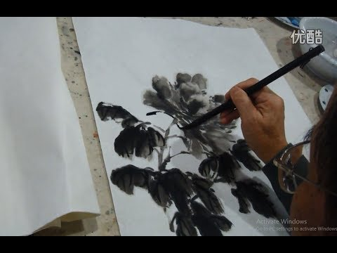 Peony Flower traditional Chinese Ink Wash Painting
