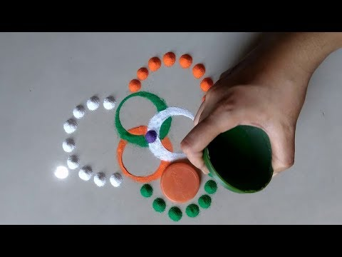 Very Easy Independent day small rangoli design By Bucketful Creation
