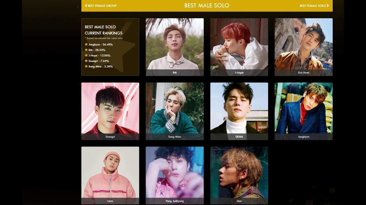Soompi Awards 2019: Indicados/Nominees - BTS, Mamamoo, BlackPink, EXO, GOT7