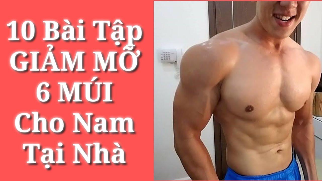 10 Bài Tập GIẢM MỠ 6 MÚI Cho Nam Tại Nhà – Junie HLV Ryan Long Fitness