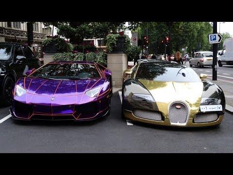 GOLD Bugatti, TRON Aventador, Aventador ROADSTER, FAB SLR! Arab Millionaire Boy Racers in London!