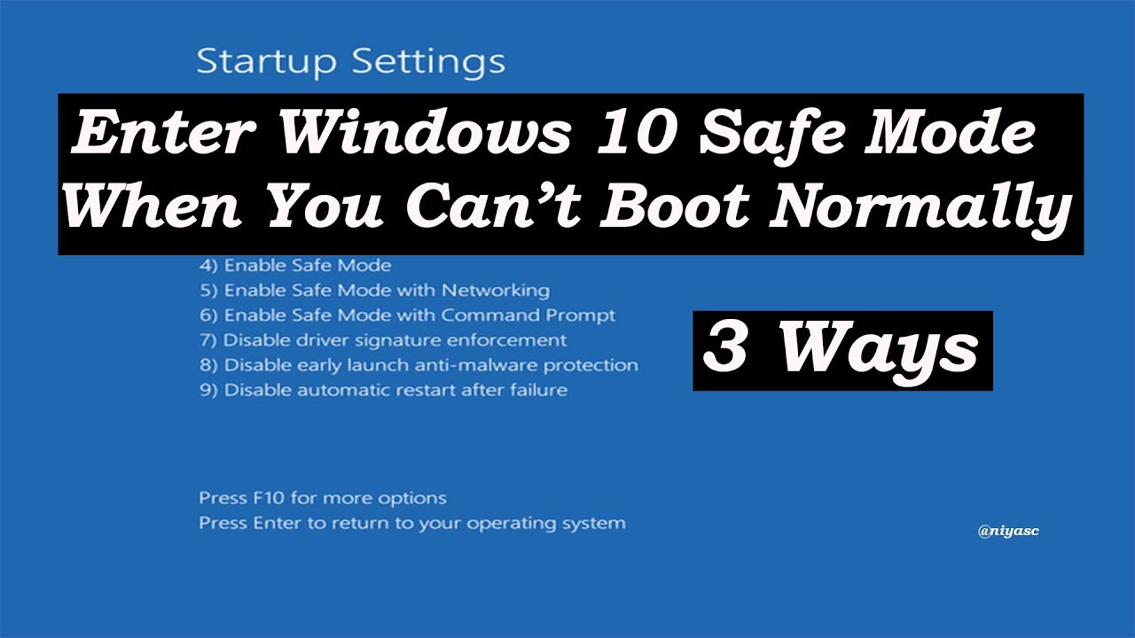How To Boot Into Safe Mode On Windows 10 3 Ways Youtube