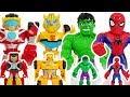 Marvel Avengers Hulk  Spider Man  Transformers Rescue Bots Bumblebee  Defeat dinosaur   DuDuPopTOY