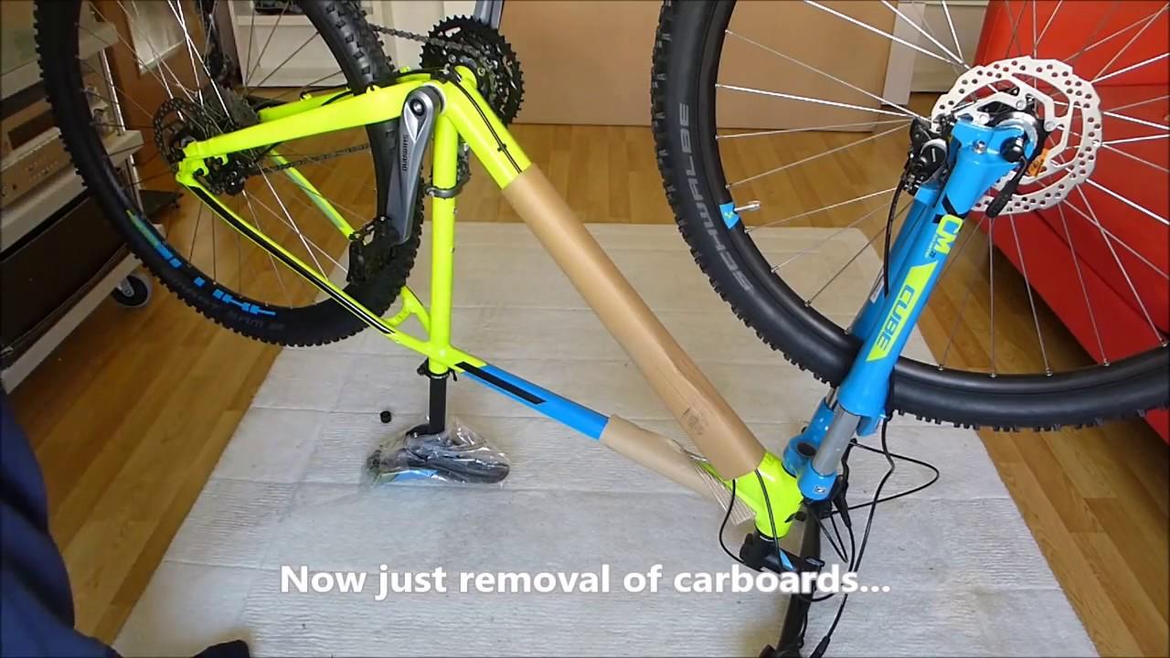 "Cube Aim Bike SL 29"" model  unboxing and assembly 2017 kiwi 'n blue Video"