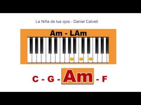 Como tocar La niña de tus ojos - Piano Ilustrado mira los acordes