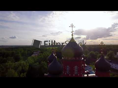 Ascension Cathedral and Holy Cross Monastery in green countryside, Russia