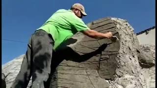 как сделать беседку в виде пещеры стены декоративный камень из арт бетона мастерская Бека