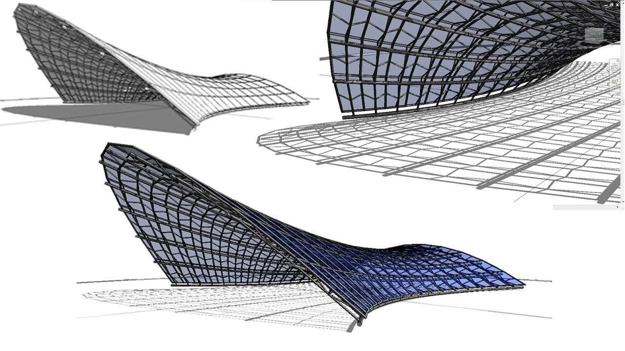 Bim Revit 3d Organic Form 03 Tensile Structure Youtube