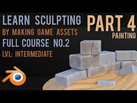 Make Game Assets by Sculpting - Stones - Part 4 - Painting