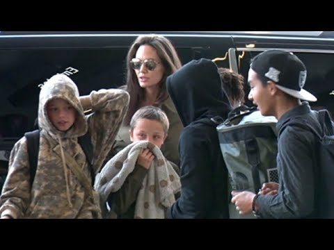 Angelina Jolie And The Children Taking A Trip