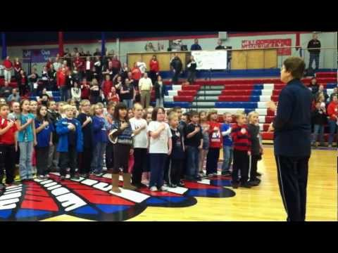 Marion Elementary School students singing the National Anthem on Jan. 8, 2013