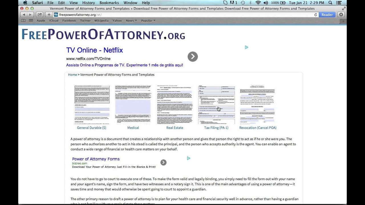 How To Write A Vermont Power Of Attorney Form Youtube