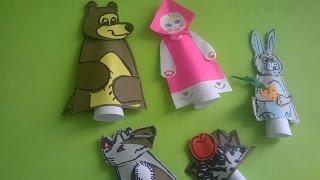Семья пальчиков Маша и Медведь  Оригами из бумаги  折り紙  Origami