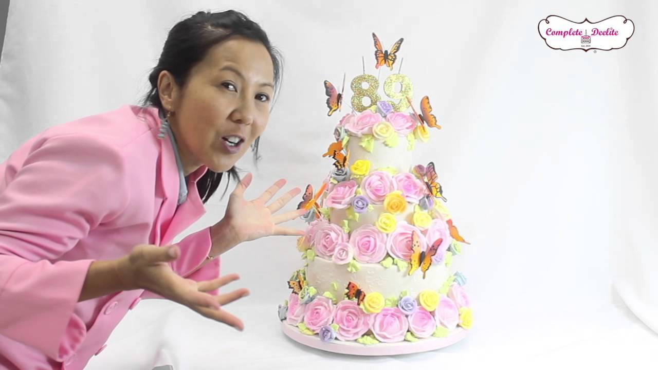 Cake Decorating Roses Butterflies Cake Youtube